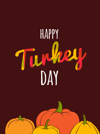 Flat design style Happy Thanksgiving Day typography poster. Happy Thanksgiving Day greeting card template, banner, flyer. Skottish plaid tartan pattern lettering. Autumn fall pumpkin harvest