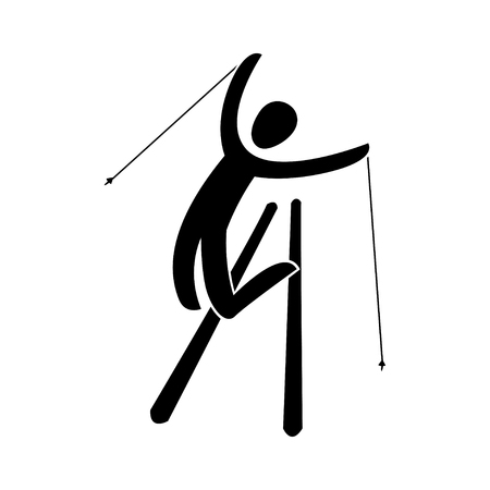 Silhouette freestyle skier jumping isolated. Winter sport games Aerials, mogul, ski cross, Slopestyle, Halfpipe. Black and white flat slyle design vector illustration.Web pictogram icon symbol