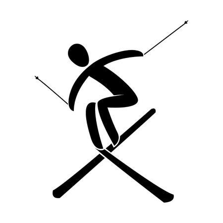Silhouette freestyle skier jumping, isolated. Winter sport games Aerials, mogul, ski cross, Slopestyle, Halfpipe. Black and white flat style design, vector illustration. Web pictogram icon symbol