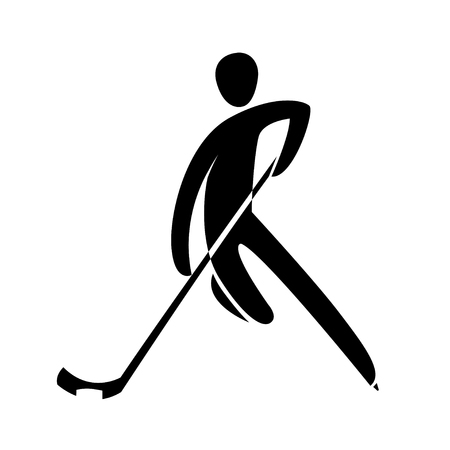 Silhouette ice hockey player skating with stick, isolated. Winter sport games discipline. Black and white flat style design vector illustration. Web pictogram icon symbol for infographics