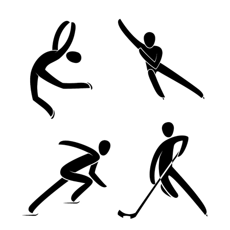 Silhouette ice figure skating,hockey player, short track speed skating isolated. Winter sport games disciplines. Black and white flat slyle design vector illustration.Web pictogram icon symbol Illustration