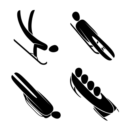 Silhouette athlete driving bobsled, bobsleigh, skeleton, luge, isolated. Winter sport games discipline. Black and white flat style design, vector illustration. Web pictogram icon symbol