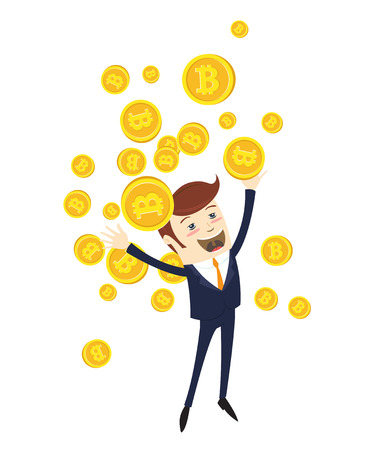 Funny businessman celebrating success with tossing Bitcoins. Physical bit coin digital currency cryptocurrency. Golden coin with bitcoin symbol isolated. Vector illustration flat style design