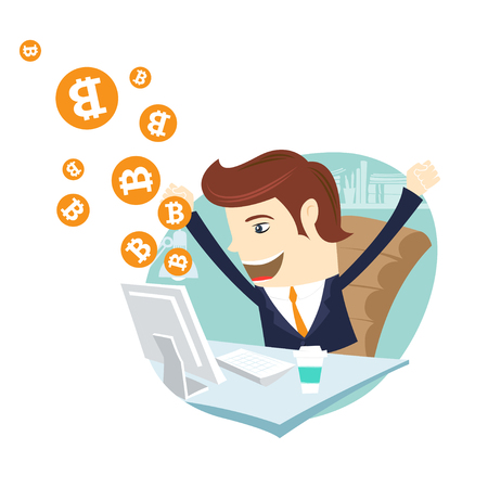 Funny businessman mining Bitcoin at office desk computer. Miner bit coin digital currency cryptocurrency. Orange coin with bitcoin symbol isolated on white background. Vector illustration flat style design Illustration