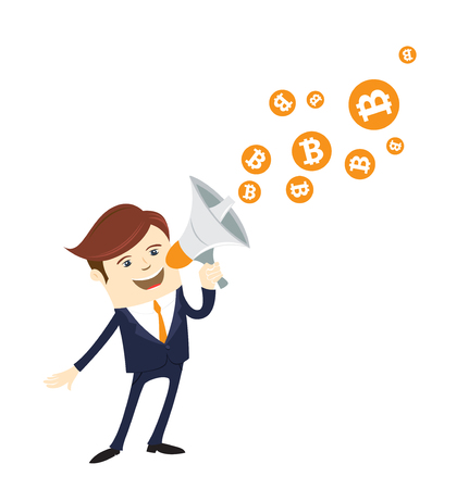 Businessman holding a megaphone with bitcoin symbols coming out isolated in white background. Vector illustration flat style design