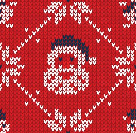 Winter Christmas knitted seamless abstract background with Santa Claus