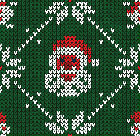 Winter Christmas x-mas knitted seamless abstract background with Santa Claus, snowflakes, snowman. Knitted pattern nordic ornaments. Winter knitting. Scandinavian flat style design backgrounds, wallpaper