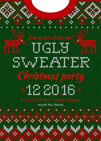 Zimowy świąteczny sweter z dzianiny w abstrakcyjny wzór. Ilustracje wektorowe