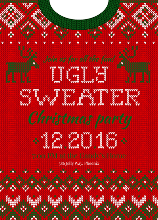 Winter Christmas knitted abstract pattern sweater design.