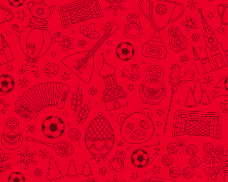 Russian football elements pattern.