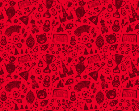 Russian soccer football championship 2018. Red Russia silhouette icon logo seamless background abstract pattern. Vector collection Russian culture signs football soccer elements. Vectores