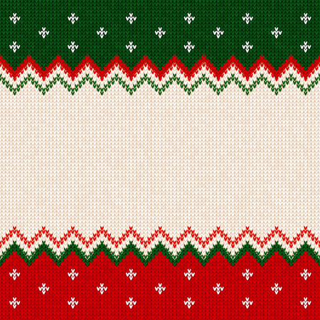 Ugly sweater Merry Christmas and Happy New Year greeting card frame border template.