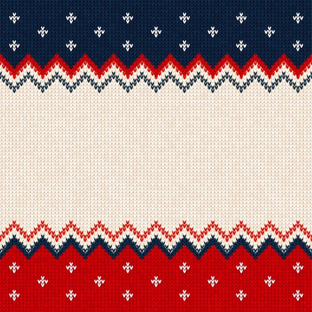 Ugly sweater Merry Christmas and Happy New Year greeting card frame border template. Vector illustration knitted background pattern with scandinavian ornaments. White, red, blue colors. Flat style