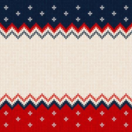 Hässliche Strickjacke Kartenrahmen-Grenzschablone der frohen Weihnachten und des guten Rutsch ins Neue Jahr. Vektorabbildung gestricktes Hintergrundmuster mit skandinavischen Verzierungen. Farben weiß, rot, blau. Flacher Stil Vektorgrafik