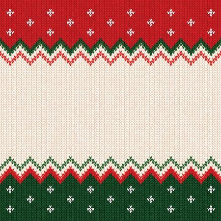 Hässliche Strickjacke Kartenrahmen-Grenzschablone der frohen Weihnachten und des guten Rutsch ins Neue Jahr. Vektorabbildung gestricktes Hintergrundmuster mit skandinavischen Verzierungen. Farben weiß, rot, grün. Flacher Stil