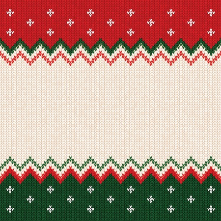 Ugly sweater Merry Christmas and Happy New Year greeting card frame border template. Vector illustration knitted background pattern with scandinavian ornaments. White, red, green colors. Flat style