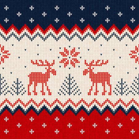 Ugly sweater Merry Christmas and Happy New Year greeting card frame border template. Reklamní fotografie - 91886324