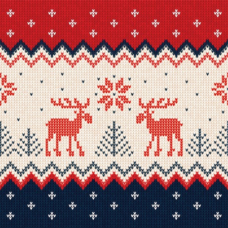 Ugly sweater Merry Christmas and Happy New Year greeting card frame border template. Vector illustration seamless knitted background pattern deers scandinavian ornaments.. White, red, blue colors.