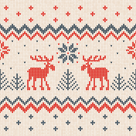 Ugly sweater Merry Christmas and Happy New Year greeting card frame border template. Vector illustration seamless knitted background pattern deers Scandinavian ornaments. White, red, blue colors.