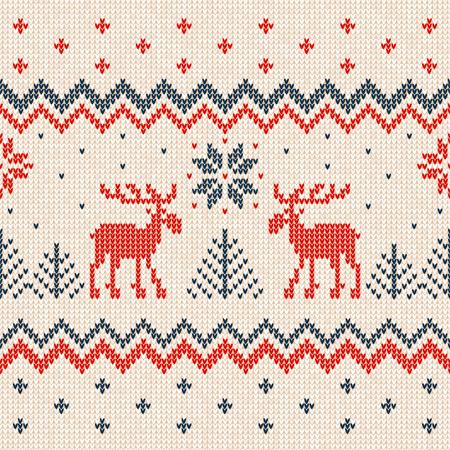 Suéter feo feliz Navidad y feliz año nuevo tarjeta de felicitación marco plantilla de frontera. Vector el ejemplo hecho punto los ornamentos escandinavos de los ciervos hechos punto del modelo del fondo. Colores blanco, rojo, azul.