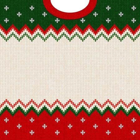 Hässliche Strickjacke Kartenrahmen-Grenzschablone der frohen Weihnachten und des guten Rutsch ins Neue Jahr. Vektorabbildung gestricktes Hintergrundmuster mit skandinavischen Verzierungen. Farben weiß, rot, grün. Flacher Stil Vektorgrafik