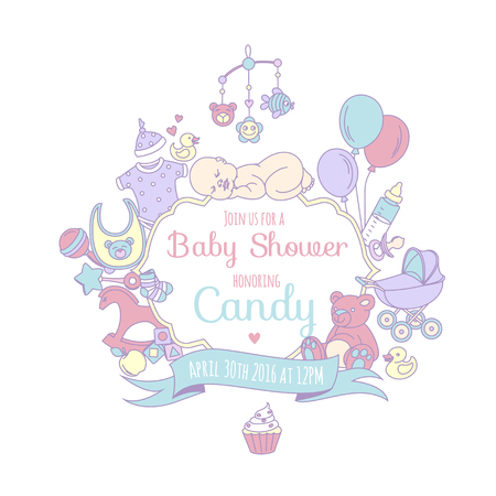 Vector illustration Cute baby shower invitation card for boy or girl, celebtation party invitation. Lovely background with balloons, sleeping baby, stroller, teddy bear, baby clothes, toys. Line style