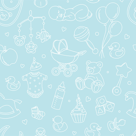 Newborn baby shower seamless pattern for textile, print, greeting cards, wrapping paper, wallpaper. For boy or girl birthday celebration party. Vector illustration design line scetch stile Vettoriali