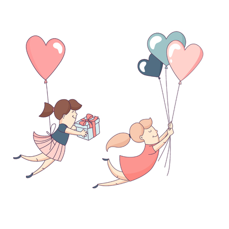 Female character flying heart shape balloons with present