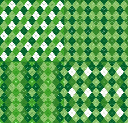 Four Festive Irish Tartan Diamond Seamless patterns for St Patrick's Day party wrapping paper, textile print, wallpaper abstract background. Flat style vector illustration. Green and white colours