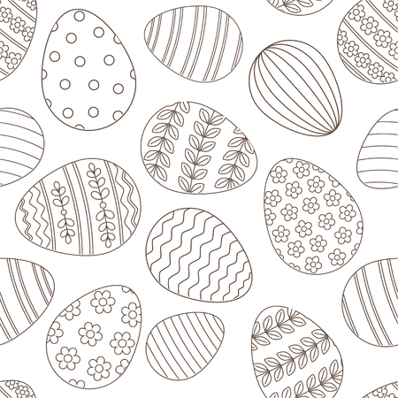 Happy Easter seamless pattern greeting card with decorated painted Easter eggs. Vector Illustration thin line stroke style design for invitations, prints, wrapping paper Illustration