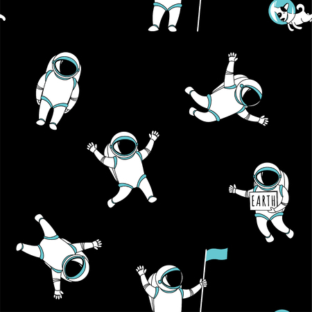 Cute funny cosmonaut astronaut spaceman characters exploring outer space with dog seamless abstract background cartoon pattern for wallpaper, textile, prints. Flat line design. Vector illustration.