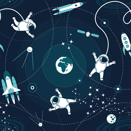 Space orbit spaceships cosmos astronaut spaceman characters exploring outer space seamless abstract background cartoon pattern for wallpaper, textile, prints. Flat line design. Vector illustration.  イラスト・ベクター素材