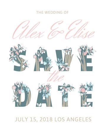 Save the date illustration template for wedding invitation with floral design Ilustração