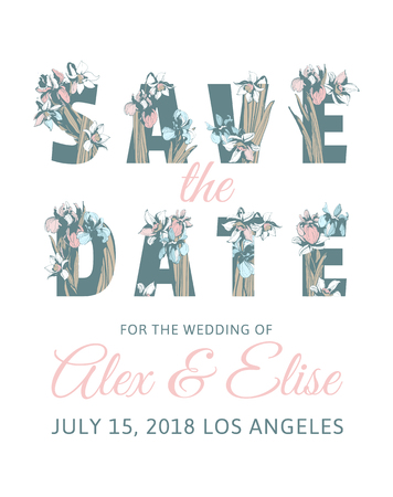 Wedding Invitation Lettering Inscription Save the Date with hand drawn floral background Spring flowers text letters of iris narcissus. Vector grunge illustration for flyer, banner, poster, print Archivio Fotografico - 98251637