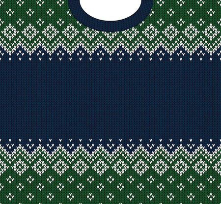 Ugly sweater Merry Christmas and Happy New Year greeting card frame border template. Vector illustration knitted background pattern with folk style scandinavian ornaments. White, blue, green colors.  イラスト・ベクター素材