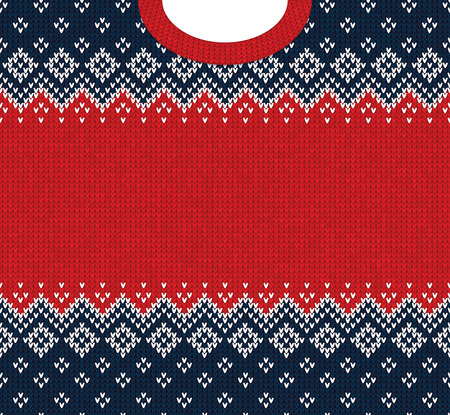 Ugly sweater Merry Christmas and Happy New Year greeting card frame border template. Vector illustration knitted background pattern with folk style scandinavian ornaments. White, red, blue colors.  イラスト・ベクター素材