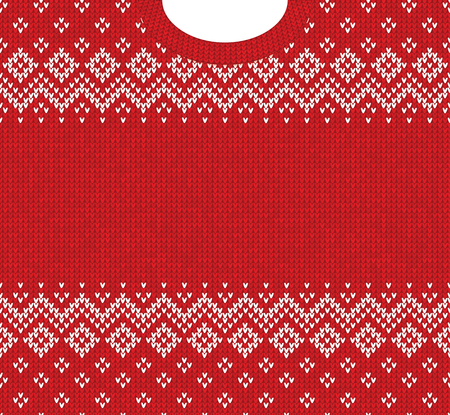 Ugly sweater Merry Christmas and Happy New Year greeting card frame border template. Vector illustration knitted background pattern with folk tribal style scandinavian ornaments. White, red colors.