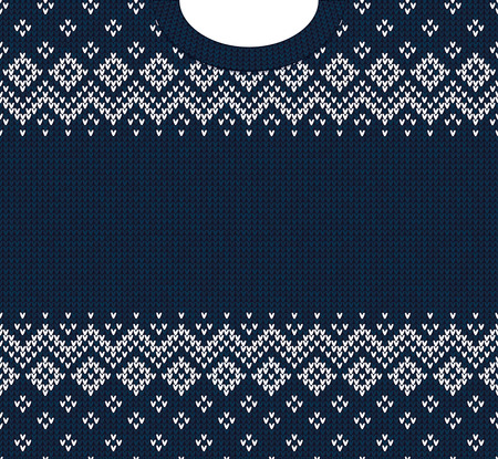 Ugly sweater Merry Christmas and Happy New Year greeting card frame border template. Vector illustration knitted background pattern with folk tribal style scandinavian ornaments. White, blue colors.