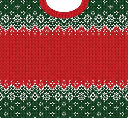 Brzydki sweter Wesołych Świąt i szczęśliwego nowego roku szablon granicy ramki z życzeniami. Ilustracja wektorowa dzianiny wzór tła ze skandynawskich ozdób w stylu ludowym. Kolory biały, czerwony, zielony. Ilustracje wektorowe