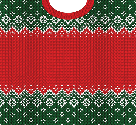 Ugly sweater Merry Christmas and Happy New Year greeting card frame border template. Vector illustration knitted background pattern with folk style scandinavian ornaments. White, red, green colors. Archivio Fotografico - 104837520