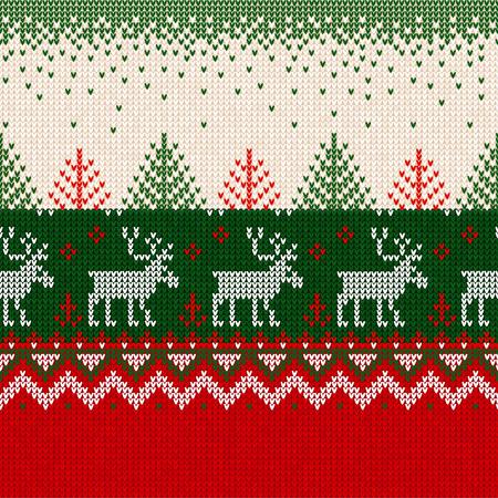 Brutto maglione Buon Natale e Felice Anno Nuovo biglietto di auguri bordo cornice senza cuciture. Illustrazione vettoriale motivo di sfondo lavorato a maglia cervi ornamenti scandinavi. Colori bianco, rosso, verde. Vettoriali