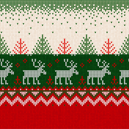 Ugly sweater Merry Christmas and Happy New Year greeting card frame border seamless pattern. Vector illustration knitted background pattern deers scandinavian ornaments. White, red, green colors.