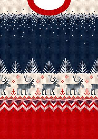 Ugly sweater Merry Christmas and Happy New Year greeting card frame border template. Vector illustration seamless knitted background pattern deers scandinavian ornaments. White, red, blue colors. Illustration