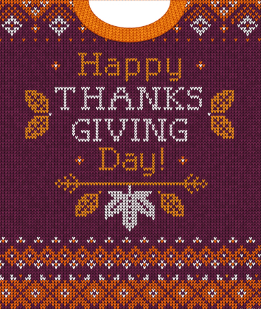 Knitted pattern background Happy Thanksgiving Day family party invite. Vector illustration Handmade knitting scandinavian ornament witn autumn fall maple leaves. White, purple, orange colors