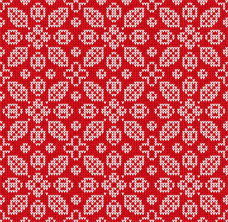 Winter Christmas Happy New Year knitted seamless floral background pattern. Knitted Scandinavian pattern with nordic ornaments. Winter and Autumn Fall Leaves and berries design textile