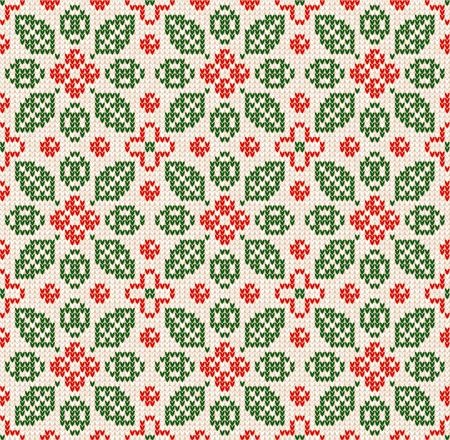 Winter Christmas Happy New Year knitted seamless floral background pattern. Knitted Scandinavian pattern with nordic ornaments. Winter and Autumn Fall Leaves and berries design textile Vettoriali