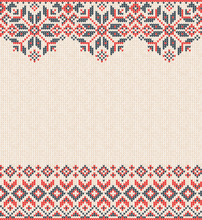 Ugly sweater Merry Christmas and Happy New Year greeting card frame border knitted pattern. Vector illustration knitted background pattern with folk style scandinavian ornaments. White, red, blue colors.