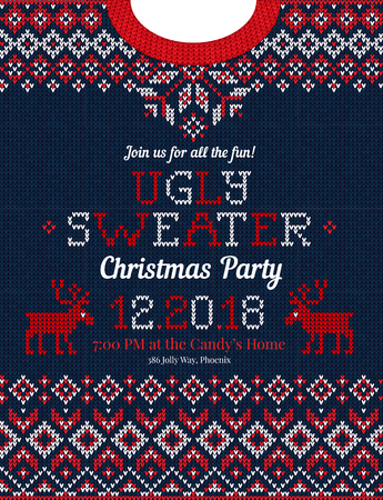 Ugly sweater Christmas party invite. Vector illustration Handmade knitted background pattern with deers and snowflakes, scandinavian ornaments. White, red, blue colors. Flat style