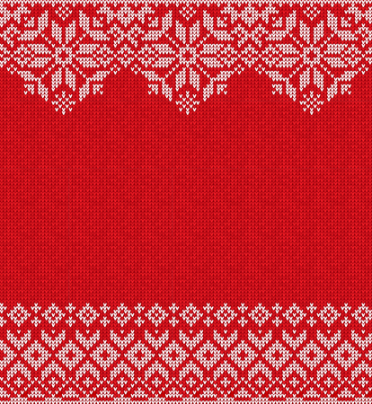 Ugly sweater Merry Christmas and Happy New Year greeting card frame border knitted pattern. Vector illustration knitted background pattern with folk style scandinavian ornaments. White, red, colors.