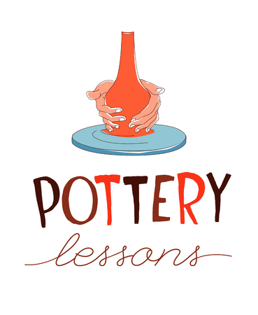 Clay Pottery Lessons. Artisanal Creative Craft logo concept. Handmade traditional pottery making, hands shaping vase on spinning wheel red clay hand drawn vector illustration sketch doodle style